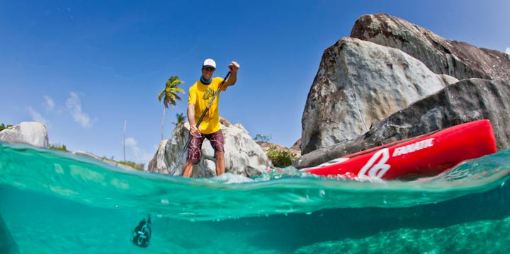 Paddlboarding on Virgin Gorda, BVI