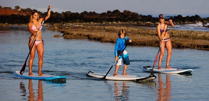 kids paddleboarding st. john