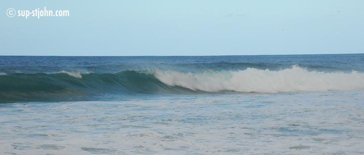 Surfing on Tortola, Apple Bay